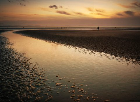 Crosby Beach Watery Sunset